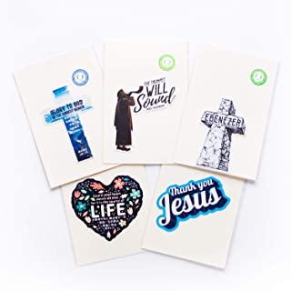 labQ Christian Inspirational Gifts, Waterproof Stickers, Cross, Jesus, Ebenezer, Yom Teruah, Heart, Set of 5 Waterproof St...