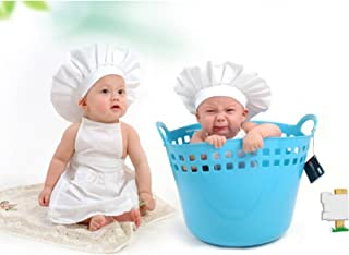 Lovely Baby Cooking Chef Apron and Hat Set Photo Photography Props Outfit Costume for Infant Toddler Children White