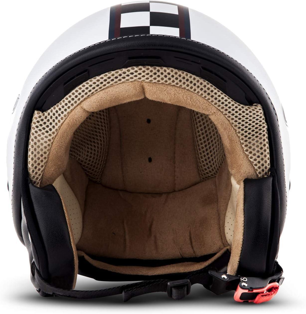 Soxon SP-301 Moto Casco Demi-Jet Compresi Sacchetto Portacasco XS Bianco//Neve 53-54cm ECE Certificato