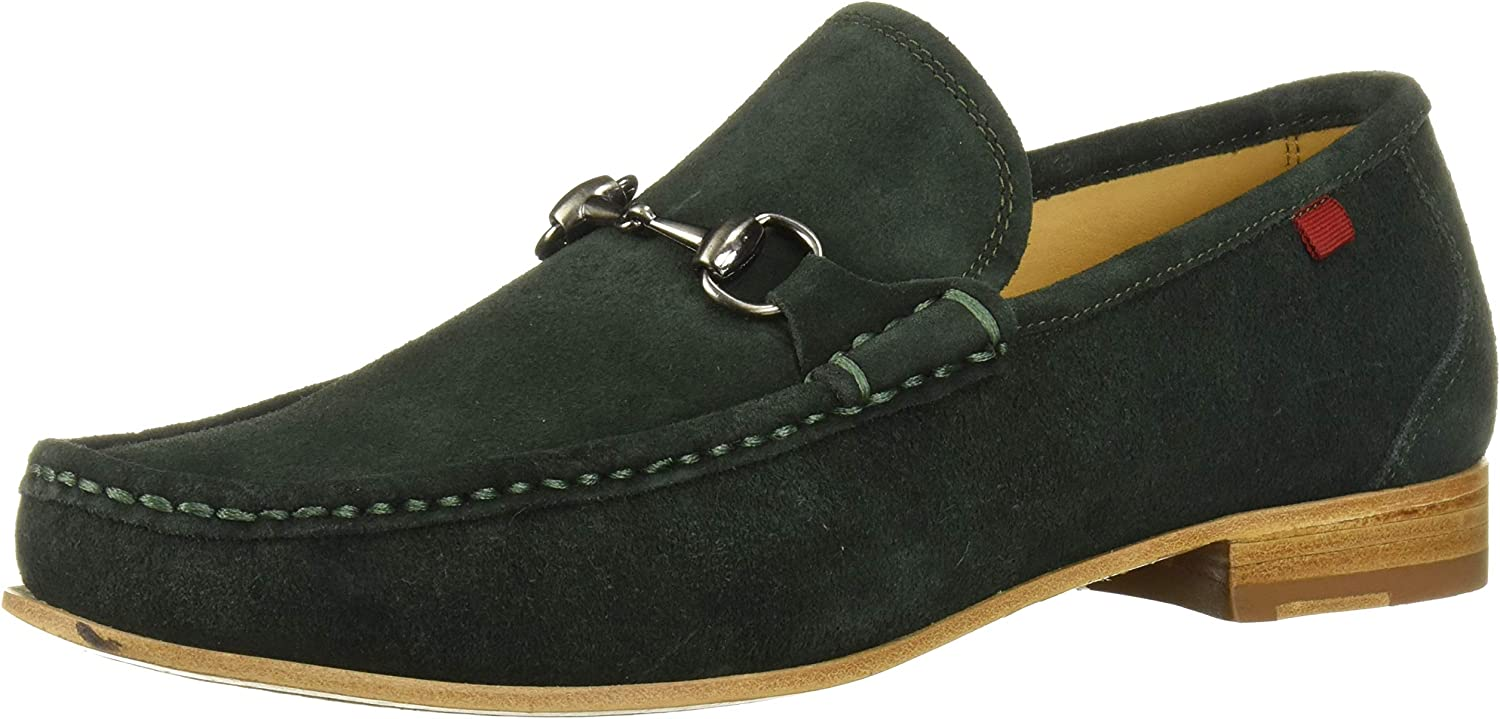 MARC JOSEPH NEW YORK Mens Gold Collection Leather Sole Buckle Loafer, Dark Green Suede, 8 M US