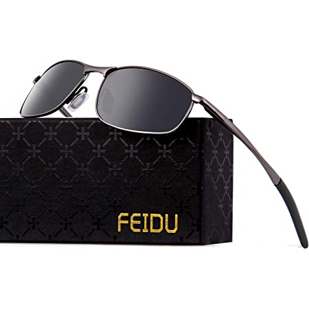 Metal Sports Polarized Sunglasses Mens - FEIDU Polarized Outdoor Sports Goggles Glasses 100% UV400 Protection Driving Eyewear Mens Sunglasses FD 9005