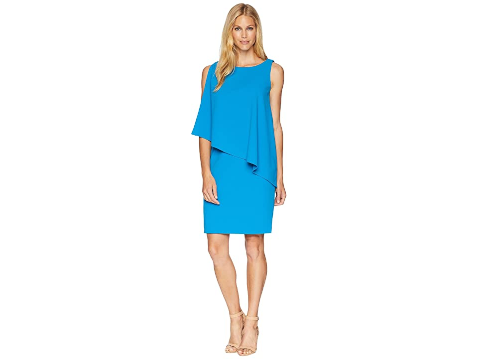 LAUREN Ralph Lauren 130H Luxe Scuba Crepe Cooper One Shoulder Day Dress (Maremma Blue) Women