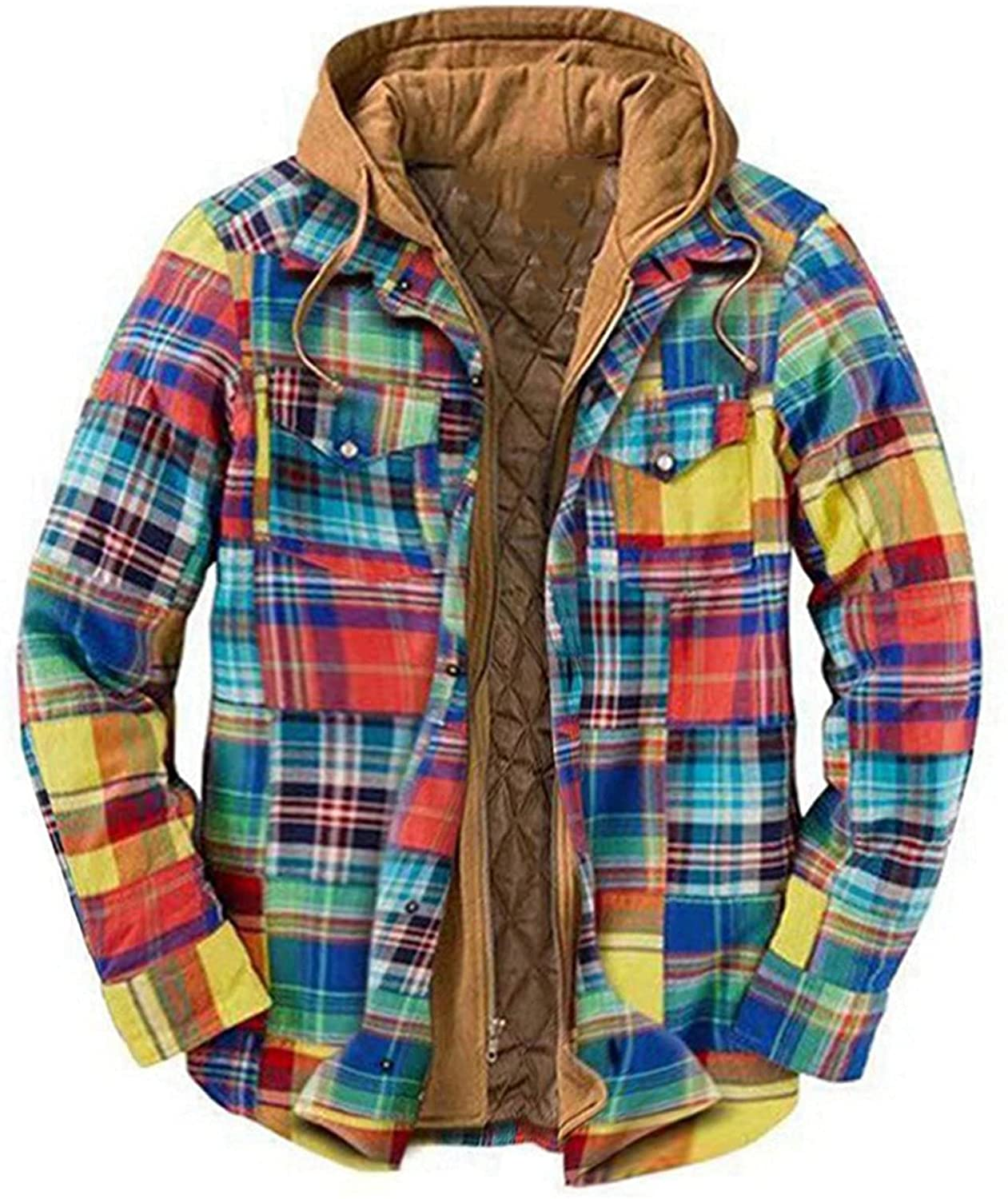 Men's Plaid Stamp Jackets,Long Sleeved Warm Lined Plush Thicken Shirt V142