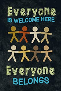 Everyone is Welcome Here Everyone Belongs Classroom Sign Educational Rules Teacher Supplies School Decor Teaching Toddler Kids Elementary Learning Decorations Cool Wall Decor Art Print Poster 12x18