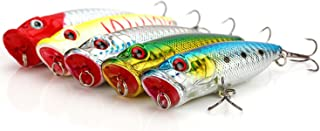 JJY 5 Pcs 2.75in/12g Popper Fishing Lures Fishing Lure Baits Kit Crankbait Minnow Hard Lure with Treble Hooks for Saltwater Freshwater Bass Trout Walleye Carp