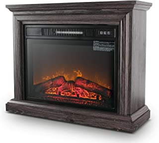"""BELLEZE 1400W 31"""" Embedded Electric Fireplace Insert Freestanding Heater w/Remote Control Glass View Log Flame, Wood Gray"""
