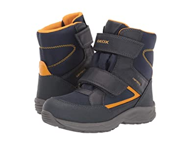 Geox Kids Jr Kuray Babx 1 (Little Kid/Big Kid) (Navy/Yellow) Boys Shoes