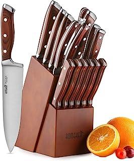 Knife Set,15-Piece Kitchen Knife Set with Block Wooden,Chef Knife Set with Sharpener,Germany High Carbon Stainless Steel Knife Block Set,Boxed Knife Sets,ROMEKER