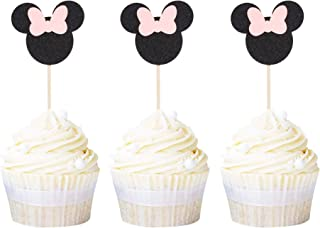 Newqueen 24 Pack Minnie Mouse Inspired Cupcake Toppers with Pink Bow Black Glitter Cupcake Picks Baby Shower Kids Birthday Party Cake Decorations