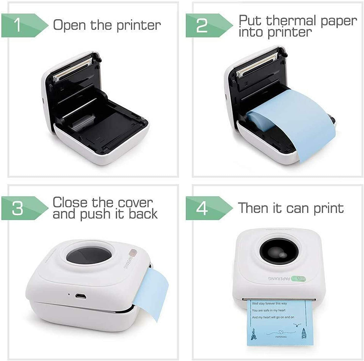 58mm Wireless POS Photo Printer Thermal Bluetooth Label Printer with 6 Printing Papers Portable Smart Photo Printer for All Smartphone Pocket Printer Mini Printer for iPhone
