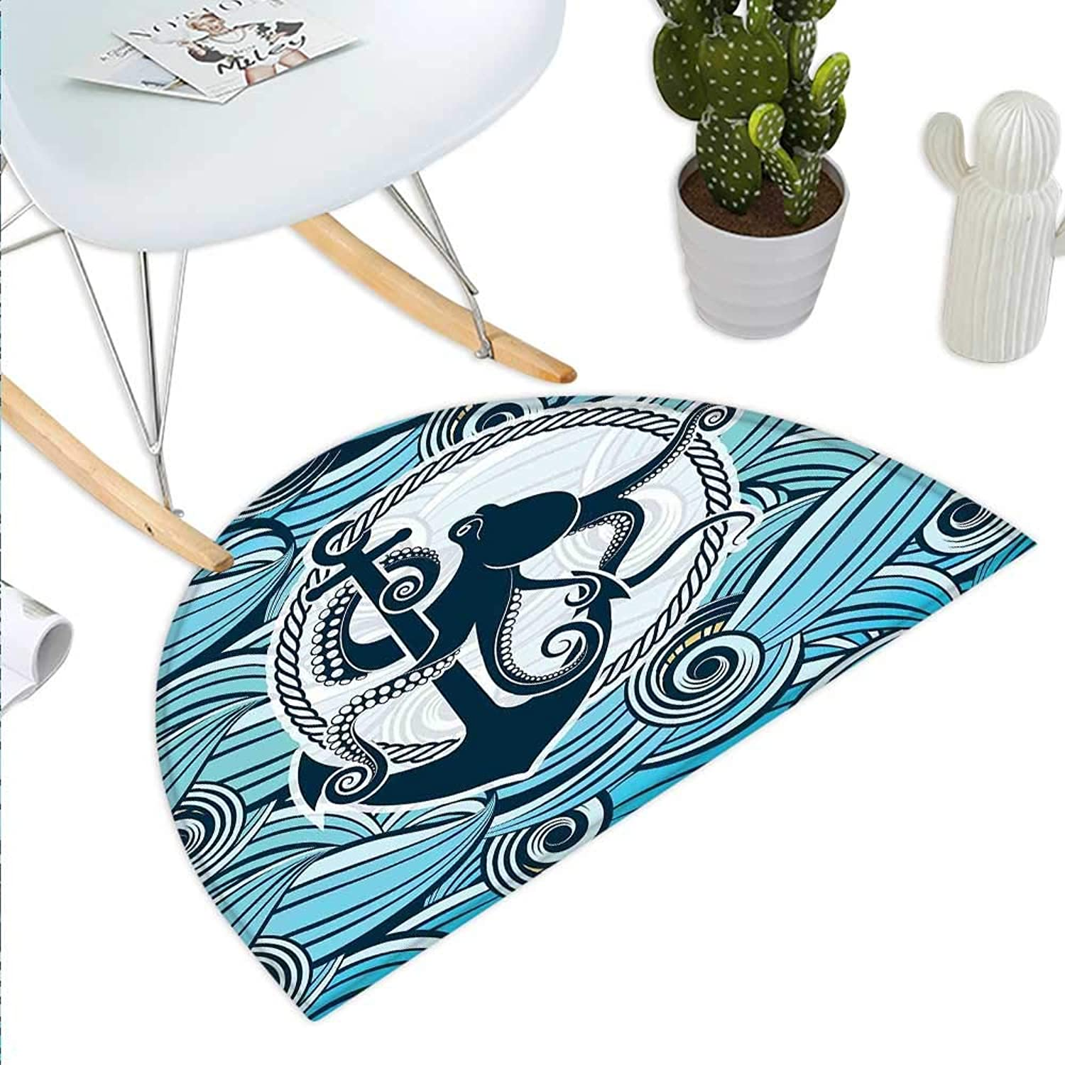 Octopus Semicircle Doormat Symbol of Octopus Against The Background of Stylized Sea Waves Nautical Design Halfmoon doormats H 35.4  xD 53.1  Multicolor
