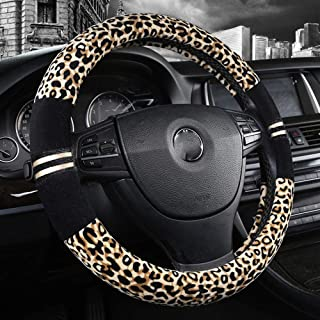 Forala Plush Car Steering Wheel Cover Luxurious Leopard Print Universal Fit for Car SUV Warm Soft Anti-Slip