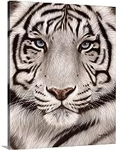 White Tiger Face Portrait Canvas Wall Art Print, 24