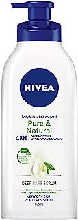 NIVEA Pure & Natural Deep Moisture Body Milk (625ml), Skin Lotion Enriched with Argan Oil & Jojoba Oil, Body Cream for 48H...