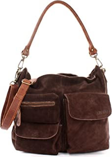 LECONI Schultertasche Ledertasche für Damen echtes Leder Natur großer Shopper Lederhandtasche für DIN A4 Damentasche Frauen Handtasche Veloursleder Wildleder 41x32x10cm LE0039-V