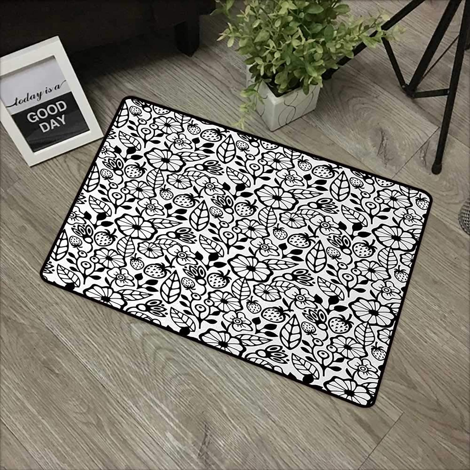 Bathroom Door mat W35 x L59 INCH Floral,Simplistic Stylized Flower Bouquet Blooming Petals Botanical Beauty Field Theme,Black White Non-Slip, with Non-Slip Backing,Non-Slip Door Mat Carpet