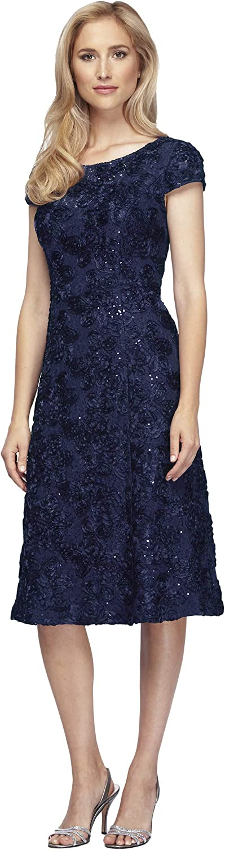 Alex Evenings Womens Tea Length Aline pinktte Dress with Cap Sleeves Special Occasion Dress