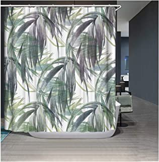 Jaoul Decorative Bathroom Camo Shower Curtain Art Print Plants Reed Floral Free Style Shower Curtains, Plastic 12 Hooks, 72 X 72, Durable Waterproof Fabric