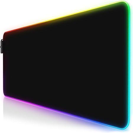 CSL - RGB Gaming Mauspad - LED Schreibtischunterlage - 800x300 mm - XXL Mousepad - LED Multi Color - 11 Beleuchtungs-Modi - 7 LED Farben Plus 4 Effektmodi - abwaschbar - schwarz