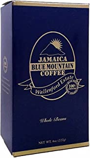 Jamaican Blue Mountain Coffee Gift Box, 100% Certified, Whole Bean, Fresh Roasted, 8-ounce
