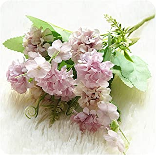Tamia-Romtic 9 Heads Hydrangea Artificial Flowers Ball Bunch Fake Flowers Silk DIY Home Decor Faux Flowers Wedding Decoration Table,Purple