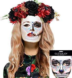 G.C Halloween Headband with Glitter Face Gems Tattoos Day of the Dead Flower Crown Halloween Party Costume for Women Teen Girls