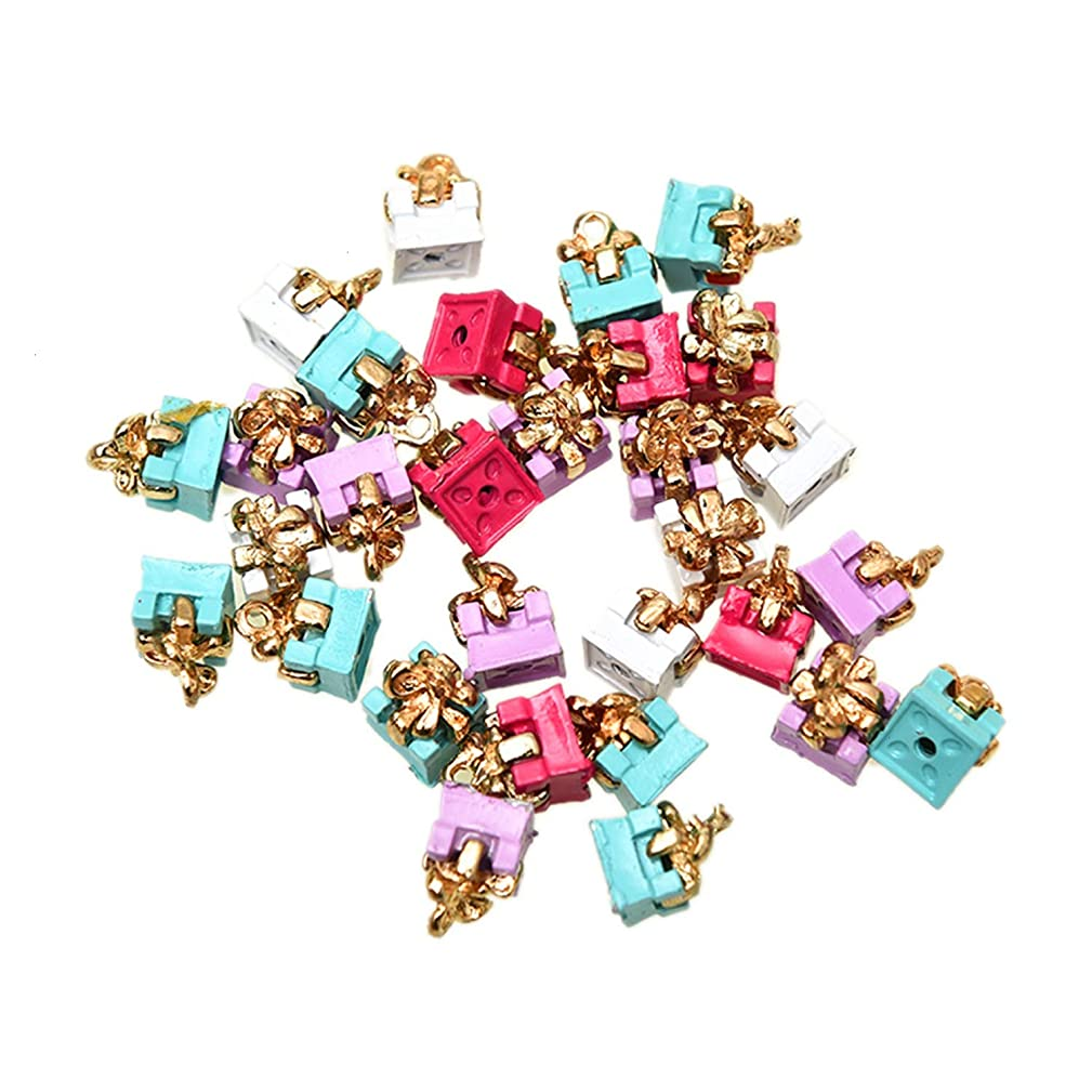 Monrocco 30Pcs Enamel Multicolor Gift Box Charms Pendant Alloy Charms for Making Necklace Bracelet Earrings