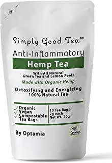 Hemp Tea Pouch with Green Tea and California Lemons - 10 Premium Tea Bags for Anxiety Stress Insomnia Aches Pains Inflammation