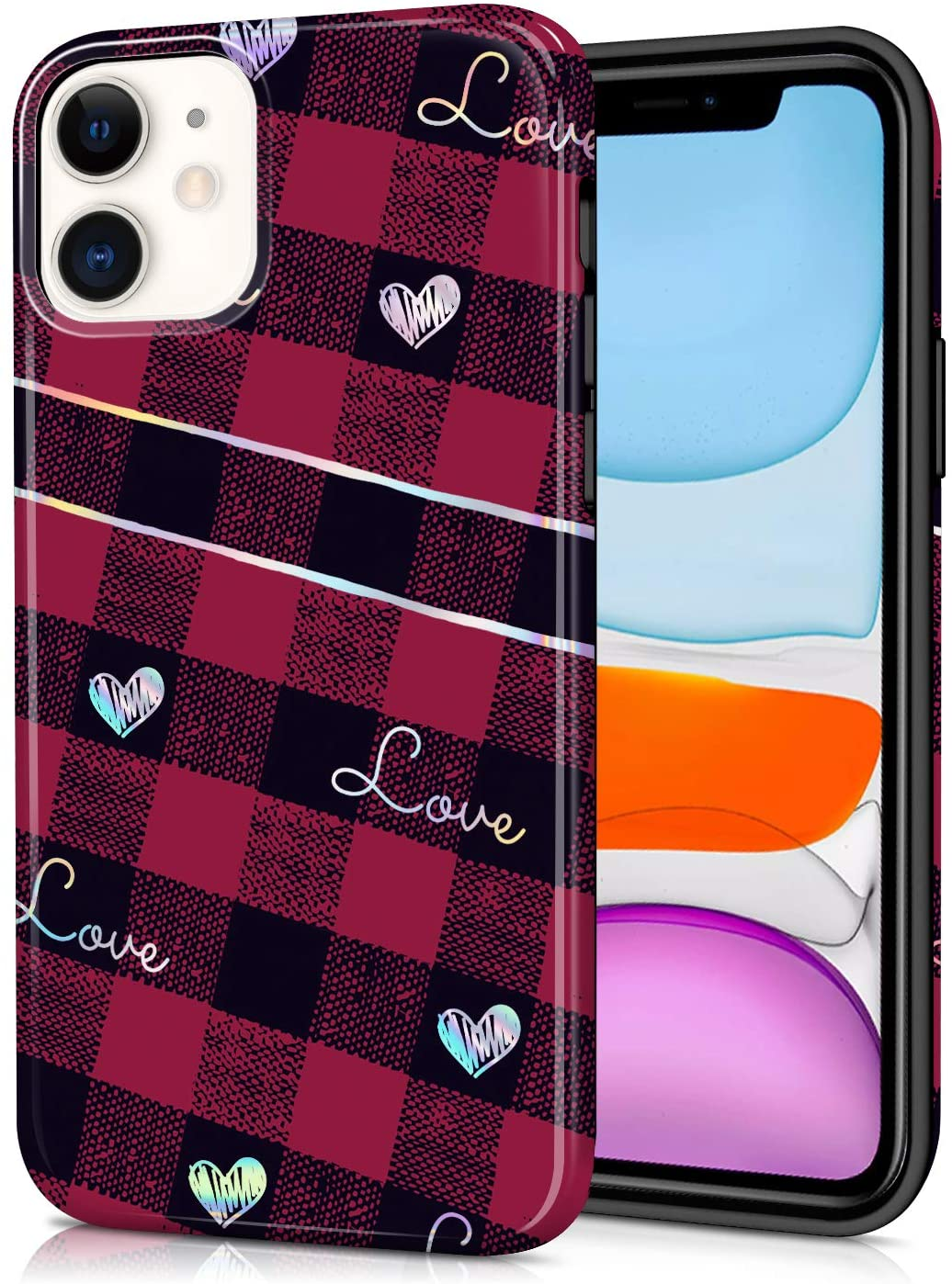 CAOUME Compatible with iPhone 11 Case (2019 Release) Holographic Red Love Plaid Heart Cute Symmetry Protective Stylish Cases for Apple Phone(6.1