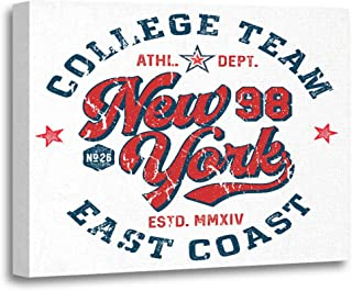 Tinmun Painting Canvas Artwork Wooden Frame Blue Varsity New York College Team Tee Red Vintage 16x20 inches Decorative Home Wall Art