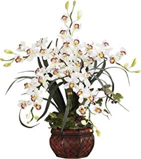 Nearly Natural 1245-WH 30in. Cymbidium with Decorative Vase Silk Arrangement