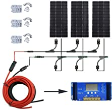 ECO-WORTHY 300 Watts Solar Panel System Off Grid:3 pcs 100W Mono Solar Panel + 60A PWM Charge Controller + Solar Cable Adapter + Y Mc4 Connectors + Z Brackets