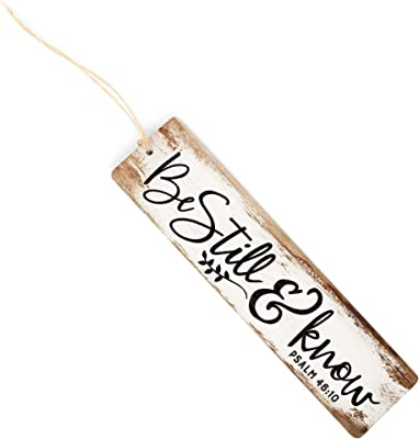 Be Still & Know Script Design White 6 Inch Wood Barnhouse Bookmark