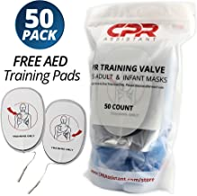 CPR Assistant™ CPR 1 Way Valves - 50 Pack, for CPR Resuscitation Training with Adult and Infant Face Masks (with Free Set of AED Training Pads)