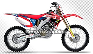 Kungfu Graphics Custom Decal Kit for Honda CRF250R 2006 2007, Red Blue White