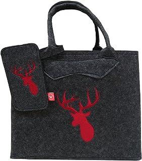 Filztasche dunkelgrau mit rotem Hirsch und Handytasche 38x30 cm
