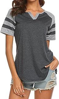 Yidarton Womens Summer Casual V Neck T-Shirt Raglan Striped Shirt Blouse Top