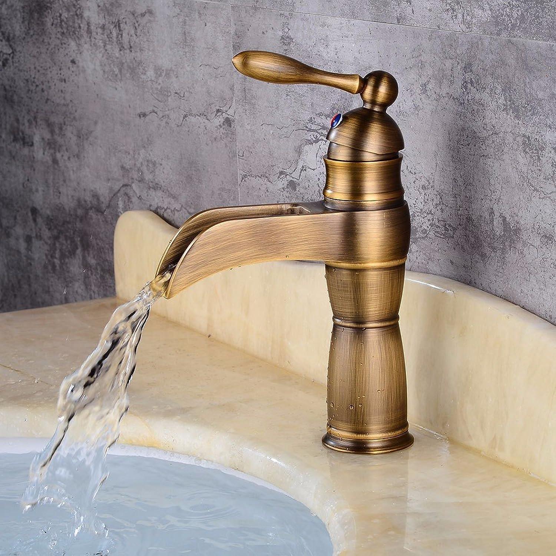 Bijjaladeva Antique Bathroom Sink Vessel Faucet Basin Mixer Tap Retro falls water outlet cold water ceramic valve single hole single handle bathroom basin mixer