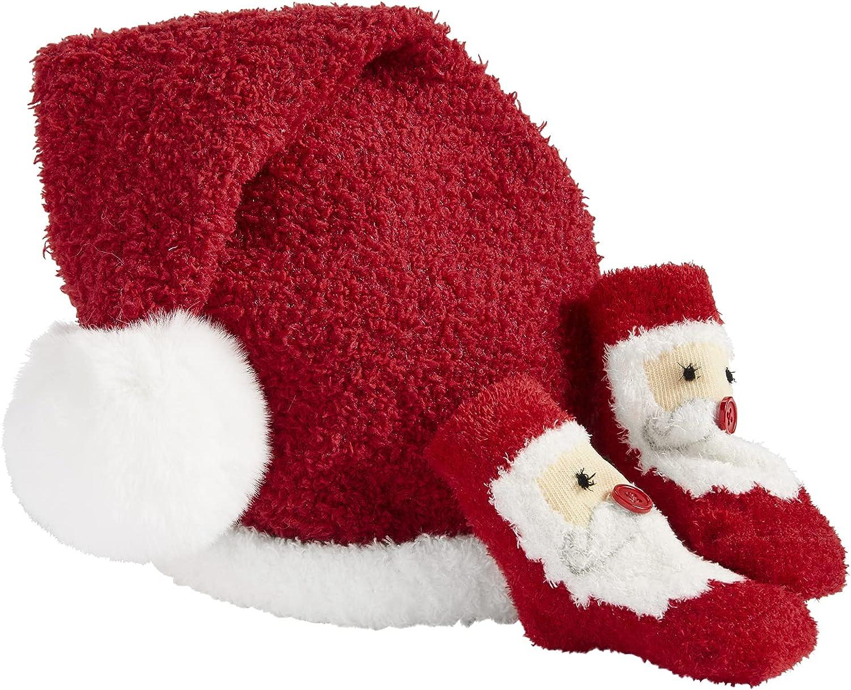 Mud Pie Children's Christmas Sock And Hat Set, Santa