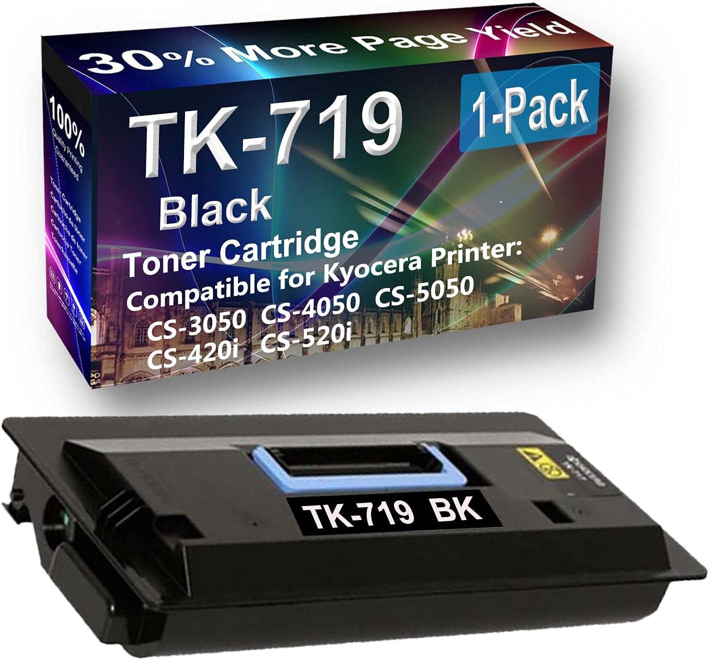 1-Pack Compatible High Yield CS-520i Laser Printer Toner Cartridge Replacement for Kyocera TK719 (TK-719) Printer Cartridge (Black)