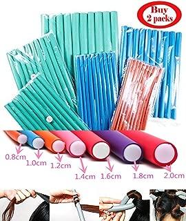 1.8cm Diameter Flexi Rod 2 Pack Deal Spiral Hair Foam Curler Roller Set, 10 Rods per Pack Twist Curls Flex Rods, Length 9