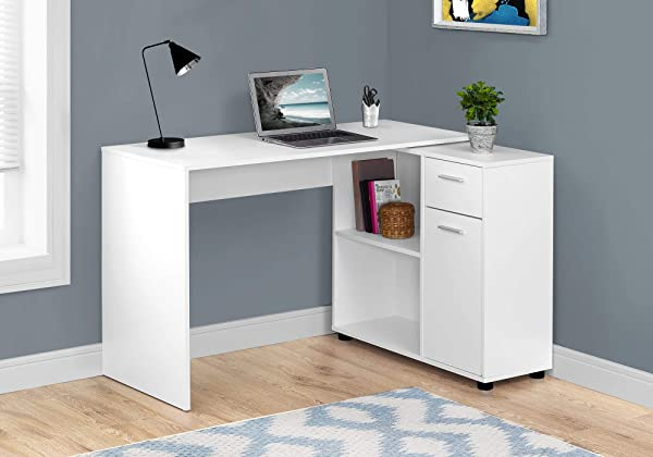 Monarch Specialties I 7350 Workstation With Storage Shelves And Cabinet For Home Office Contemporary Style L Shaped Computer Desk 46 L White