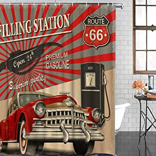 Z&L Home 1950s American Vintage Car Poster Shower Curtains for Bathroom Decor Retro Filling Station Polyester Fabric Waterproof Bath Curtain Set with Hooks