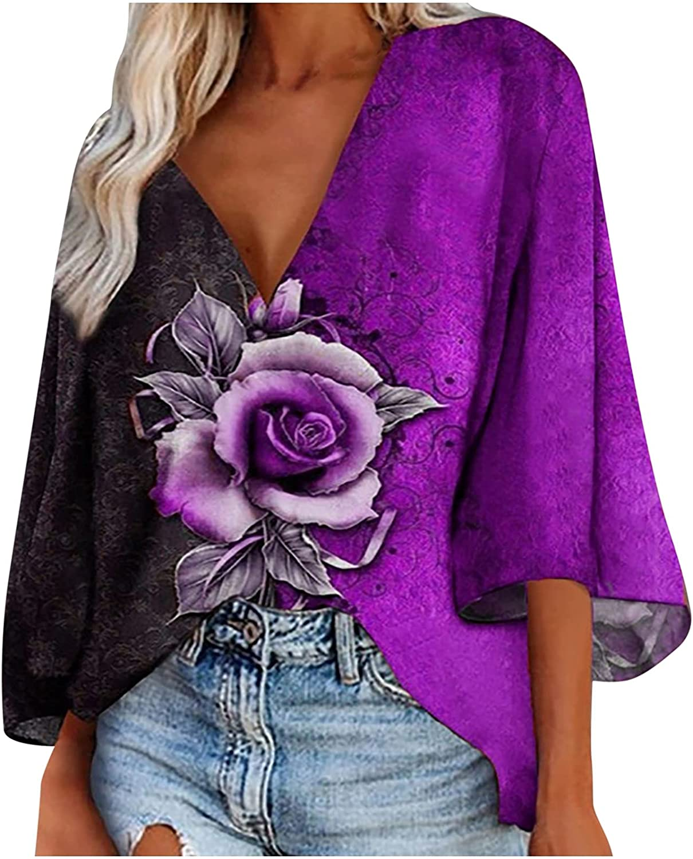 Casual T Shirt Top for Women V Neck Rose Print Flared 3/4 Sleeve Blouse Irregular Hem Pullover Tunic