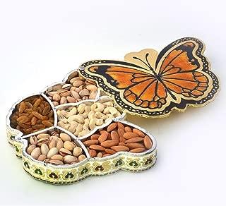 The Hue Cottage Decorative Box Meenakari Work Platter Dry Fruit Box Aluminium Material Butterfly Design Gift Items Indian