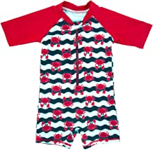 ملابس سباحة للأطفال الصغار والأولاد الصغار قطعة واحدة من قطعة واحدة للحماية من أشعة الشمس فوق البنفسجية وسحاب واقي الطفح الجلدي بأكمام قصيرة