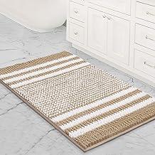 Bsicpro Chenille Bath Rug for Bathroom Shaggy Mat Shower Mats 35x24 inch Super Non Slip Water Absorbent Carpet Stripe Patt...