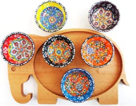 Ayennur Decorative Desing Turkish Ceramic Bowl Set of 6 with Elephant Wood Serving Plate - Handcrafted Pinch Multicolor Finger Small Serving Bowls