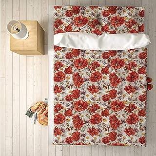House Decor Practical 4 Piece Bedding Set,Blooming Poppies Ladybird Bumblebee Bee and Butterflies Summer Joyful Art for Indoor,One Side Print : Queen