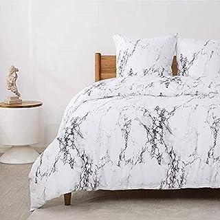 Bedsure Bettwäsche 155X220 Mikrofaser 3 teilig - weiß Bettbezug Set mit Marmor Muster, weiche Flauschige Bettbezüge mit Reißverschluss und 2 mal 80x80cm Kissenbezug